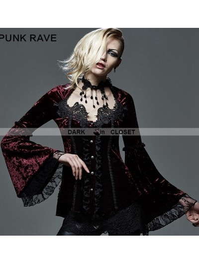 Punk Rave Wine Red Velvet Lace Gothic Blouse for Women