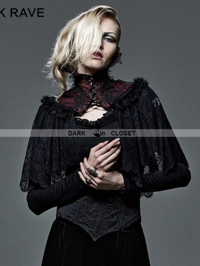 Punk Rave Red and Black Lace High Collar Gothic Cape