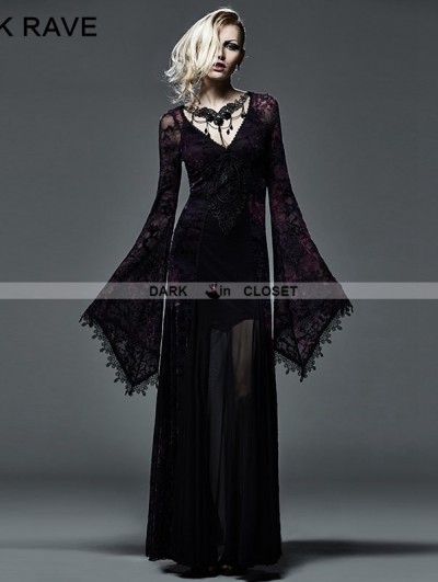 Punk Rave Dark Violet Sexy Gothic Long Vampire Dress