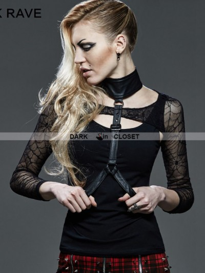 Punk Rave Black Gothic Punk Two-Piece Waistcoat T-Shirt for Women