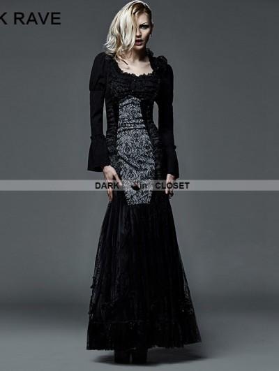 Punk Rave Black Gothic Fishtail Skirt