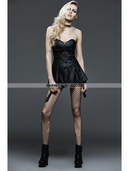 Punk Rave Black Gothic Punk Corset Pleated Leather Dress