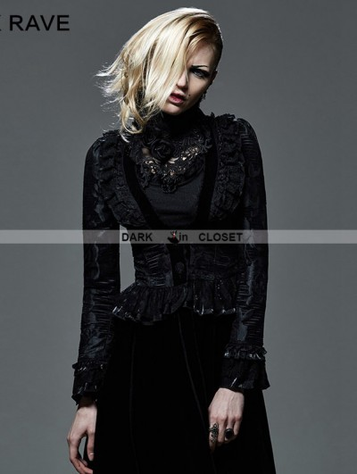Punk Rave Black Floral Pattern Short Gothic Jacket for Women
