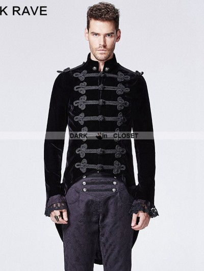 Punk Rave Black Velvet Gothic Victorian Swallow Tail Jacket for Men