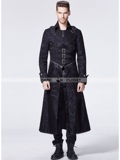 Punk Rave Black Gothic Punk Breast Cross Long Trench Coat for Men