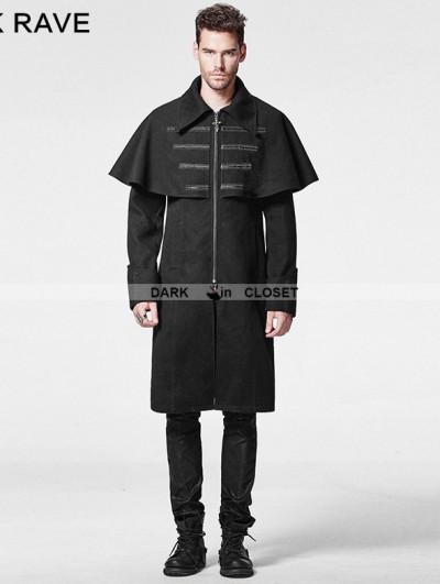 Black Gothic Cloak Woolen Coat for Men
