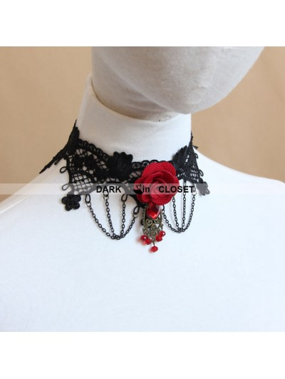 Red Flower Black Lace Gothic Necklace