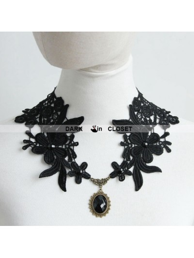 Romantic Black Lace Pendant Gothic Necklace