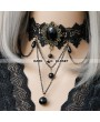 Black Pendant Chain Lace Gothic Necklace