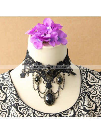 Black Chain Gothic Pendant Lace Necklace