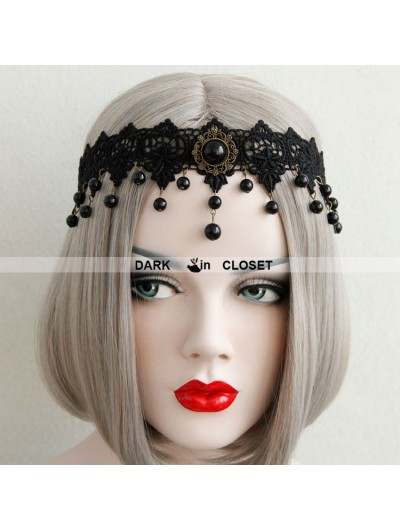 Black Pendant Chain Lace Gothic Headdress