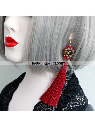 Vintage Red Fringe Gothic Earrings