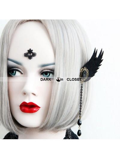 Vintage Black Cross Gothic Earrings
