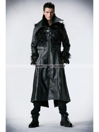 Punk Rave Black Leather Gothic Punk Long Jacket with Curl for Men