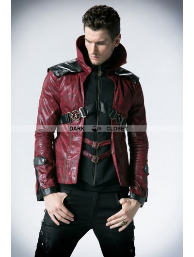 Punk Rave Black and Red Leather Vampire Style Gothic Jacket for Men