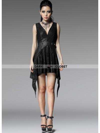 Punk Rave Black Sleeveless Sexy V-Neck Gothic Punk Dress