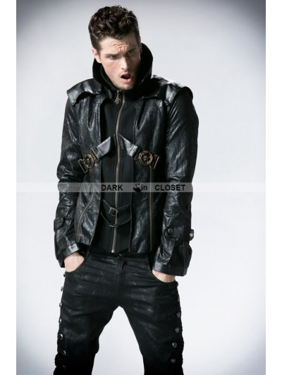 Punk Rave Black Leather Vampire Style Gothic Jacket for Men