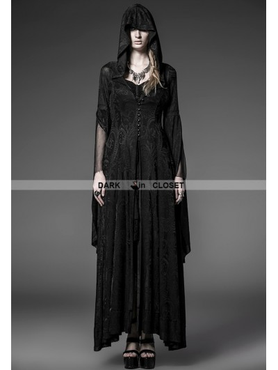 Punk Rave Black Pattern Hooded Gothic Vampire Medieval Dress