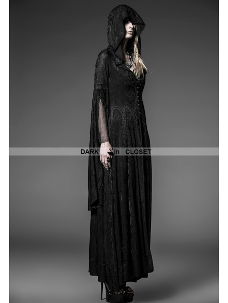 Punk Rave Black Pattern Hooded Gothic Vampire Medieval