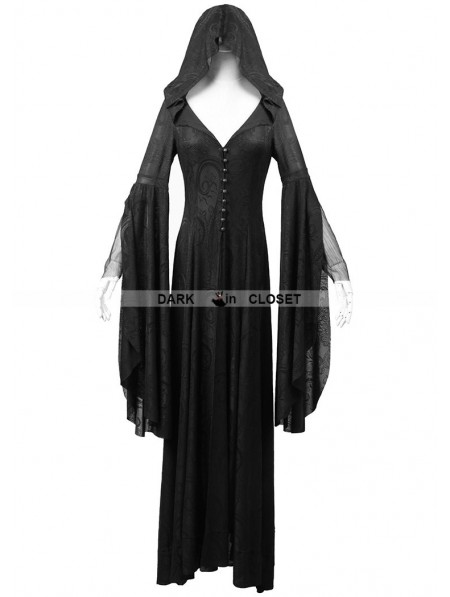 Punk Rave Black Pattern Hooded Gothic Vampire Medieval