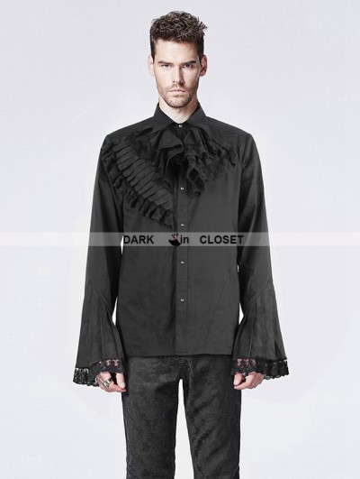 Punk Rave Black Trumpet Sleeves Gothic Blouse for Men
