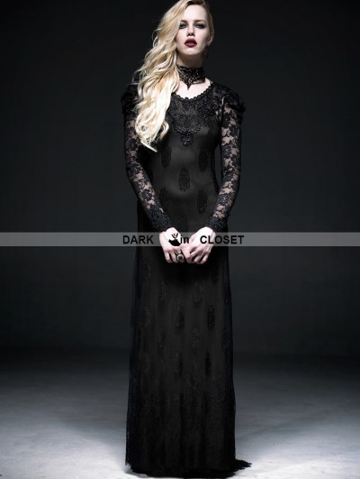 Punk Rave Romantic Black Long Sleeves Lace Gothic Two-Piece Dress