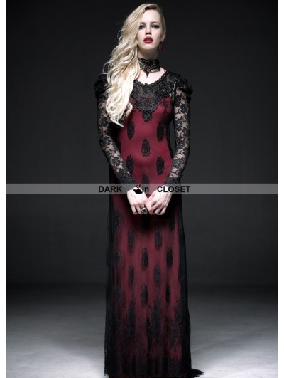 Punk Rave Romantic Red and Black Long Sleeves Lace Gothic Two-Piece Dress