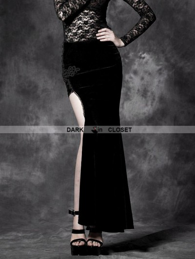 Punk Rave Black Velvet Irregular Gothic Skirt
