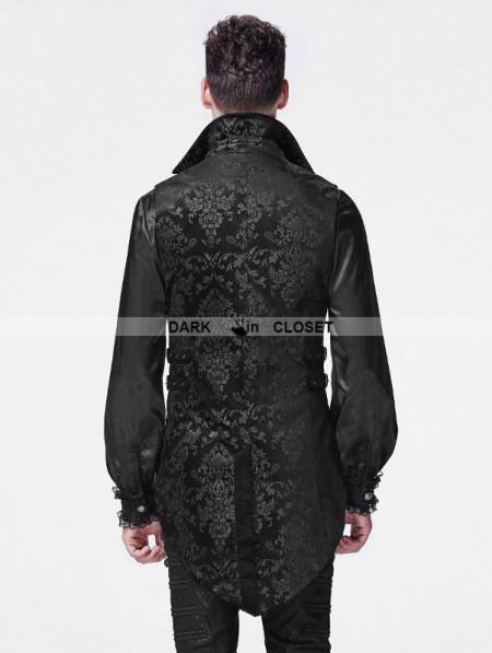 punk rave black printing pattern gothic vest for men