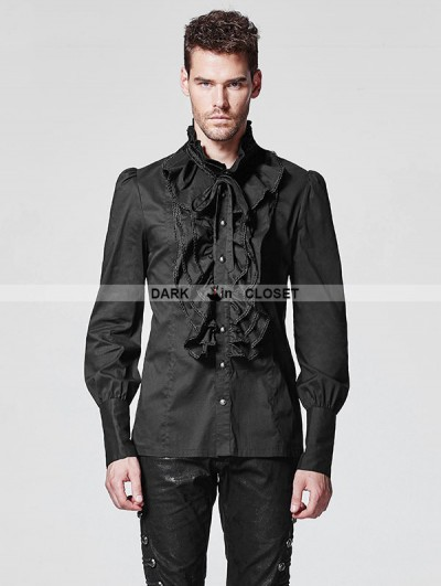 Punk Rave Black Ruffles Gothic Blouse for Men