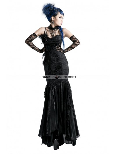 Punk Rave Black Gothic Sexy Fishtail Dress