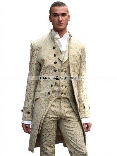 Pentagramme Yellow Alternative Pattern Gothic Coat for Men