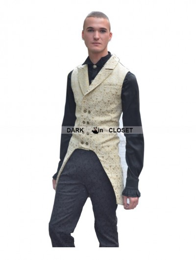 Pentagramme Yellow Alternative Pattern Gothic Vest for Men