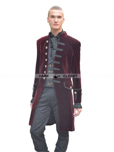 Pentagramme Wine Red Alternative Gothic Coat for Men