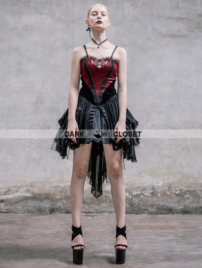 Devil Fashion Fashion Black and Red Spaghetti Straps Gothic Dress