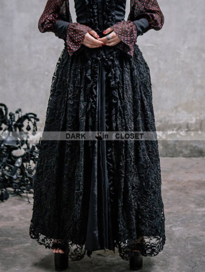 Devil Fashion Black Lace Gothic Long Skirt