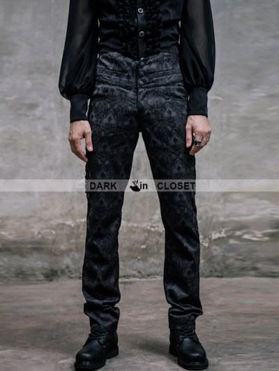 Devil Fashion Black Pattern High-Low Gothic Pants for Men