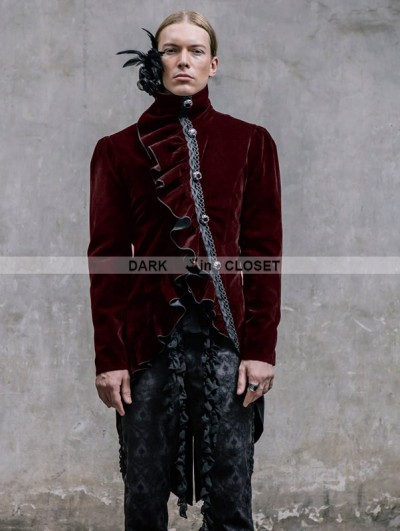 Devil Fashion Wine Red Vintage Gothic Swallow Tail Jacket for Men