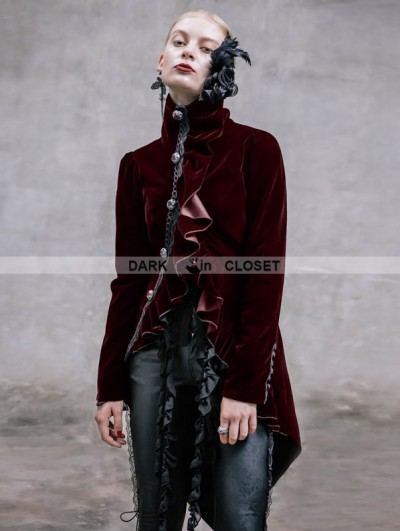 Devil Fashion Black Vintage Gothic Swallow Tail Jacket for Women