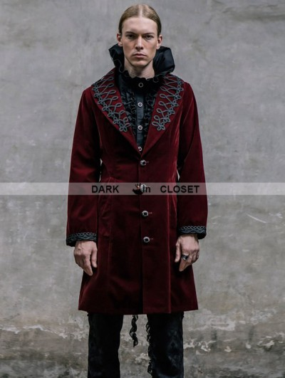 Devil Fashion Wine Red Vintage Gothic Jacket for Men
